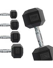 Body Revolution Hex Dumbbells - Rubber omhulde Home Gym zeshoekige gietijzeren hand halters Workout gewichten - Range van 1kg - 40kg