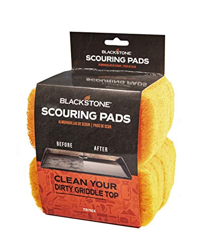 Blackstone 5063 Griddle Scrub (Pack of 10) BBQ Grill & Cooktop Scouring Scrubbers – Heavy-Duty Pads Baked On Food & Cooking Oils – Grill Cleaning Supplies, Black
