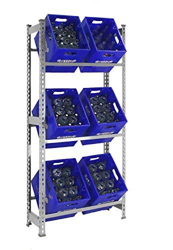 Getränkekistenregal 1800 x 810 x 300 mm, bis zu 6 Kisten, 100 kg Tragkraft/Ebene, VERZINKT