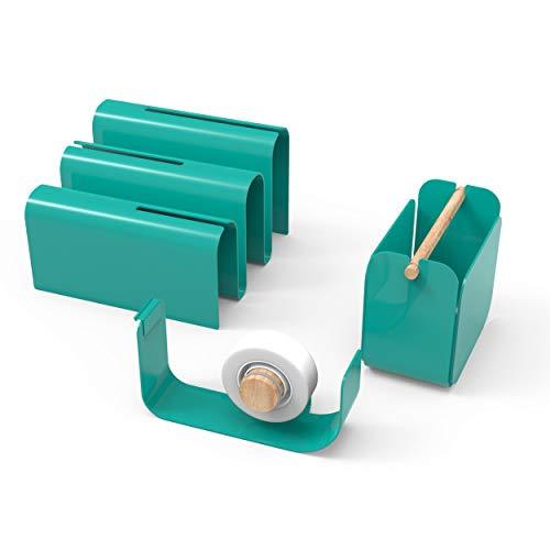 U Brands Metal Desk Organization Kit, Arc Collection, Cup, Tape Dispenser and Letter Sorter Included, Green (3605A00-01)