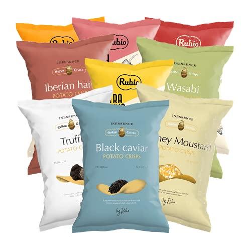 Rubio Chips Mix Box, 9 verschiedene Sorten, leckere Kartoffelchips Tüten, Geschenk Set, Chipstüten, Snackauswahl, Super bowl, Valentinstag, 960 g
