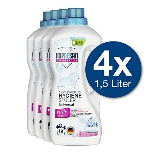 Impresan Hygiene-Spüler Universal: Wäsche-Desinfektion – Desinfektionsspüler gegen Bakterien, Pilze, Viren - 4 x 1,5L