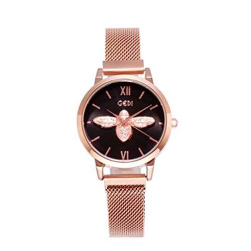 Orologio da polso donna di lusso luce netta piccola ape con orologio femminile impermeabile Ob guardare femminile (Color : A)