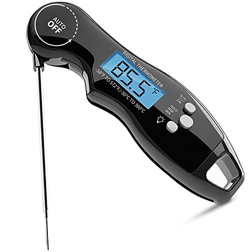 Meat Thermometer - MOSSRW Digital Instant Read Thermometer IP67 Waterproof with Food Grade Probe, Wireless Thermometer with Backlight and Magnet for BBQ, Smoking, Grilling and Cooking