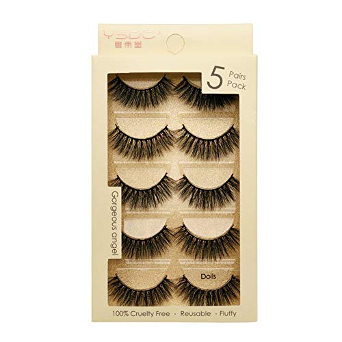 Crrs Mask 3D Cheveux Faux Faux Cils Style Naturel Longs Cils Maquillage Dramatique Cils épais,Dolls
