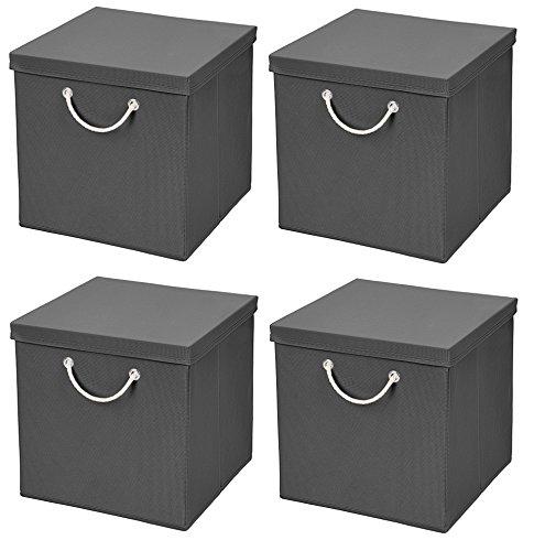 Stick&Shine 4X Aufbewahrungs Korb Dunkelgrau Faltbox 30 x 30 x 30 cm Regalkorb faltbar mit Kordel und mit Deckel