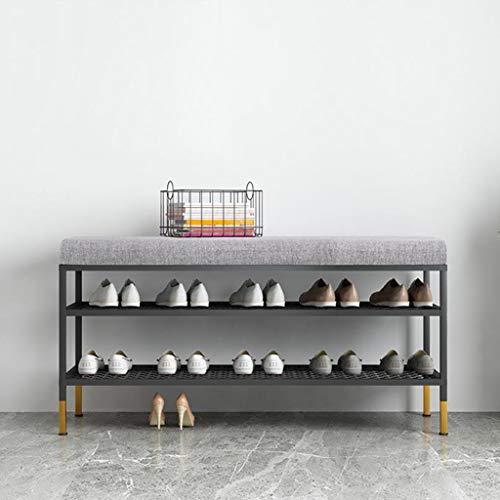 M-YN Zapatero 3 Niveles de Calzado Banco de Almacenamiento con Asiento Acolchado, Pasillo Zapatero Organizador, Estructura de Metal del Zapato Estante, de Entrada, Sala de Estar, Pasillo