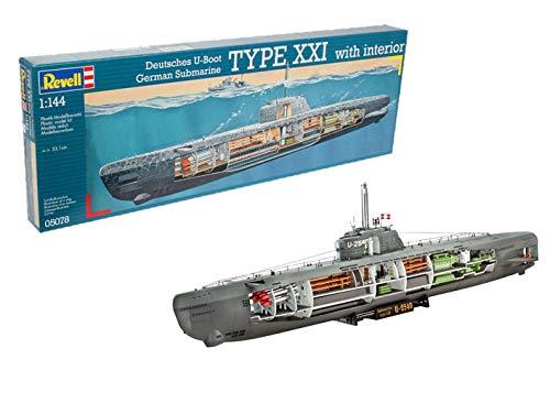 Revell Maqueta Submarino alemán Type XXI con Interior, Kit Modello Escala 1:144 (5078) (05078)