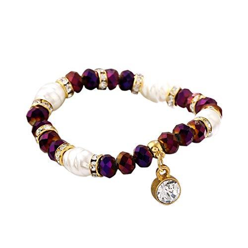Pendant Elegant 1 Bright Color Rhinestone Bracelet Bead Women Wristband Gift (Pink),Colour:Pink (Color : Purple)