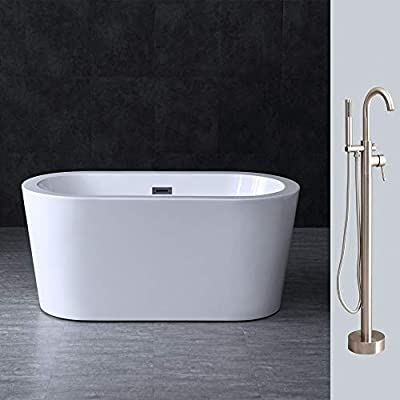 "Woodbridge BTA0088 Acrylic Freestanding Contemporary Soaking Tub Overflow and Drain BTA1588-B,with Brushed Nickel F0001, 56"" Bathtub + Faucet F-0001"