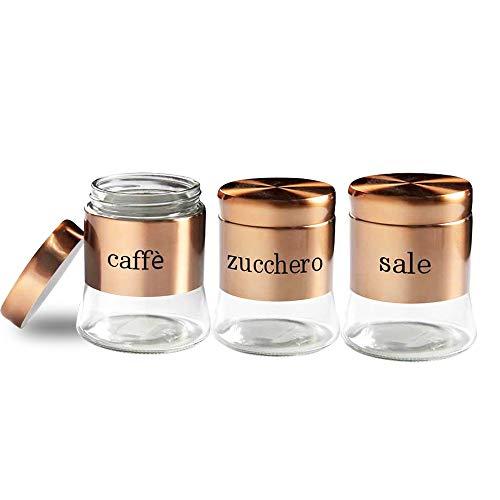 Tris Set 3 BARATTOLI, Porta Sale, Zucchero, caffè, Set BARATTOLI in Vetro con Tappo in Acciaio Inox, Tris Barattoli da 750ml, Color Rame
