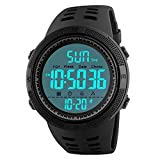 Mens Digital Sport Watch, Military Waterproof Watches Fashion Army Electronic Casual Wristwatch with Luminous Calendar Stopwatch Alarm LED Screen - Black