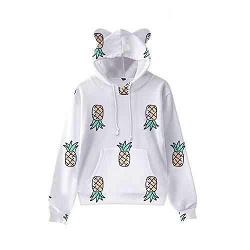 GYINGY Cat Ear Hoodies Fresh Fruit Series Herren Hoodie Cartoon Hooded Sweatshirts Casual Pullover-L