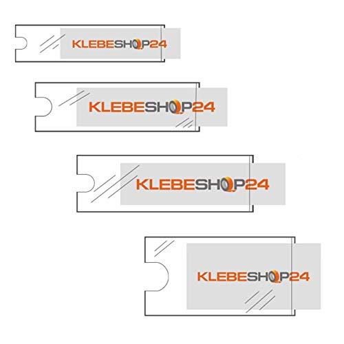 Klebeshop24 BESCHRIFTUNGSFENSTER SELBSTKLEBEND | Format + Menge wählbar | Transparent | Schmale Seite offen | Selbstklebetaschen für Einsteckschilder | Mit Daumenausstanzung ~ 25 x 75 mm 24 Stück
