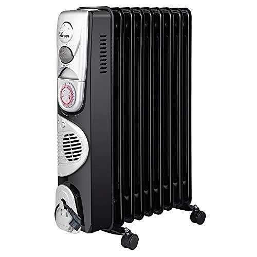 Ardes AR4R09BTTE OILO 9TT - Radiador de aceite eléctrico con 9 elementos calefactores, temporizador, 3 potencias, ventilación turbo, con ruedas, 2500 W, negro y plateado