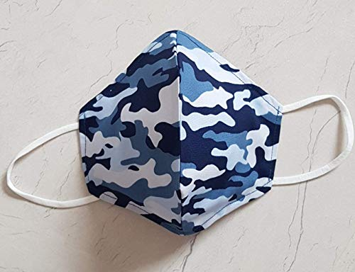 Überzug Cover für Masken Mundschutz Verschönerung Camo Baumwolle Oeko Tex Stoff Maskenüberzug Abdeckung waschbar Handarbeit Camouflage in blau