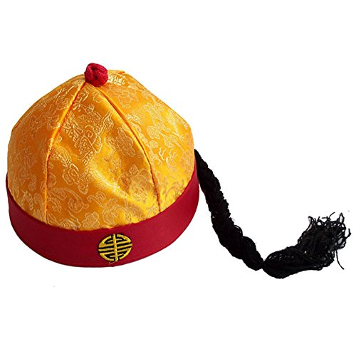 Sunny Hill Ancient Chinese Royal Emperor Hat Role Play Decorative Cosplay Hat (Adult) Yellow