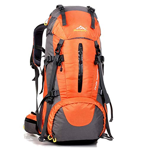 Phil Beauty Orange Hiking Backpack 50L Waterproof Travel Backpack Trekking Rucksack Mountaineering Backpack Outdoor Travel Bag Comfortable And Breathable for Men And Women
