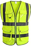 XIAKE 9 Pockets High Visibility Reflective Safety Vest, Zipper Front, Meets ANSI/ISEA Standards(X-Large,Yellow)