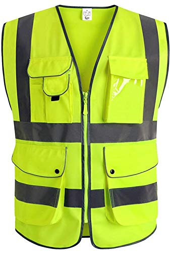 XIAKE Class 2 Reflective Safety Vest with 9 Pockets and Zipper Front High Visibility Safety Vests,ANSI/ISEA Standards(X-Large,Yellow)