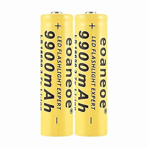 2 pcs 18650 Batería Recargable de Iones de Litio 3.7V 9900mah Baterías de botón de Gran Capacidad para Linterna LED, iluminación de Emergencia, Dispositivos electrónicos, etc