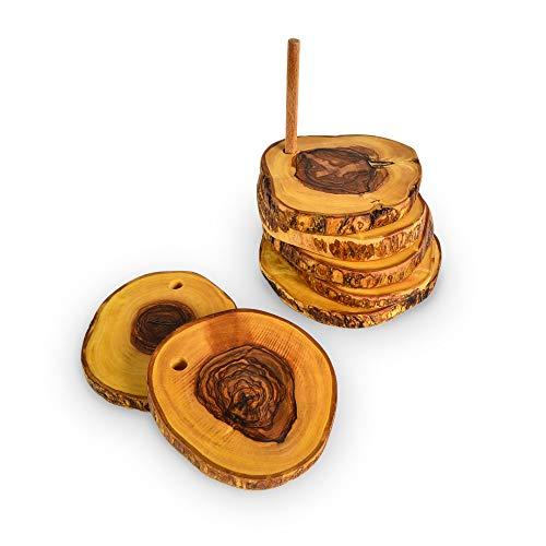 Sottobicchieri in legno d'oliva di Darido - Sottobicchieri rotondi - Sottobicchieri vintage (set di 6) - Tovagliette antiscivolo - Sottobicchiere fatto a mano per appoggiare tazze, tazze, bicchieri