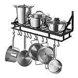 KES 30-Inch Kitchen Pan Pot Rack Wall Mounted Hanging Storage Organizer Wall Shelf with Hooks Matte Black, KUR215S75A-BK