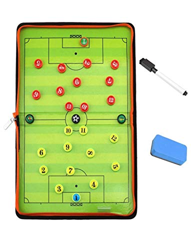 KONIBN Magnetic Soccer Tactic Coaching Board Football Coach Tool with 26 Magnets, Dry Erase Marker, Eraser - Foldable and Portable