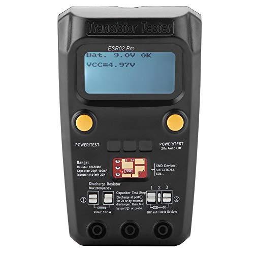 Transistor Tester, ESR02 Pro Misuratore di induttanza componente chip digitale SMD per diodi, doppio diodo, SCR, resistori, condensatori MOSFET ESR LCR Meter