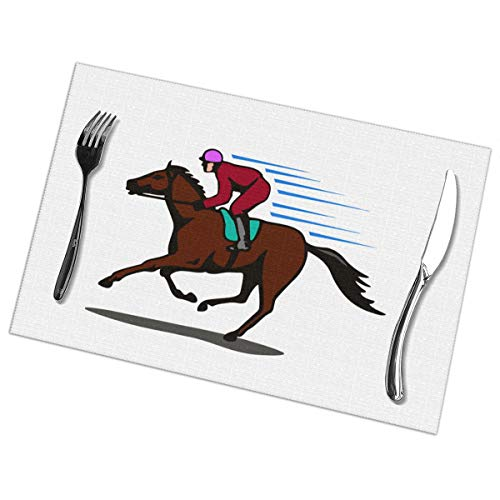 Men Horse Racing Table Mats for Dining Room Kitchen Table Decor 12