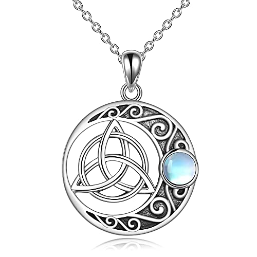 Moonstone Moon Necklace Sterling Silver Irish Celtic Knot Triquetra Trinity Vintage Viking Jewelry for Women Men