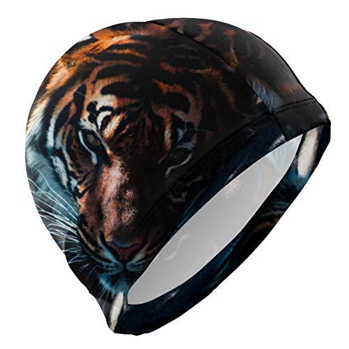 PINLLG Bonnet de bain Animal Tigre Bonnet de natation pour homme garçon adulte jeunesse adolescent chapeau de natation sans dérapant
