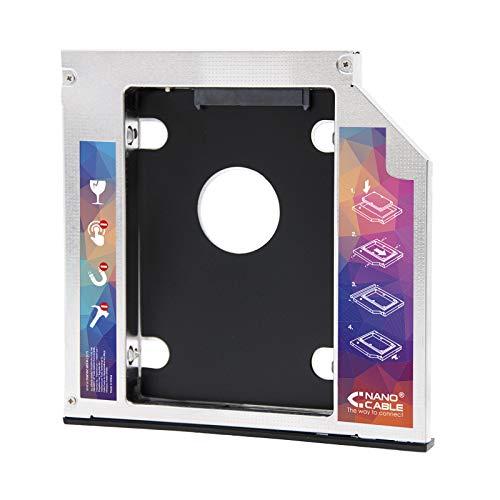 NANOCABLE 10.99.0101 - Adaptador para Disco Duro de 7,0mm en Unidad optica de 9,5mm de portatil (Accesorio para Instalar un Segundo Disco Duro o SSD en un portatil), Negro/Plateado