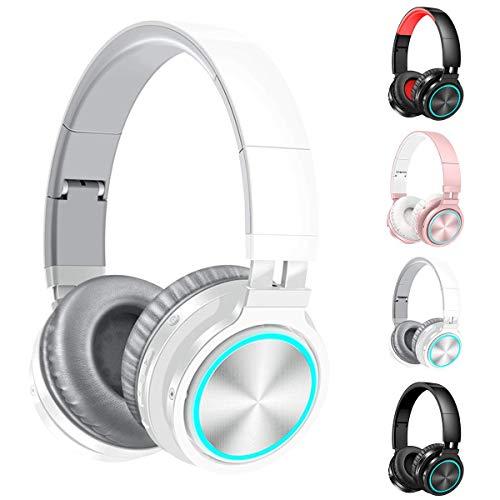 Auriculares sin hilos del Sobre-Oído con 7-Color Mic Luz Deep Bass, hilos plegable y estéreo de auriculares con cable Buit en el micrófono for teléfono celular, PC, TV, PC, orejeras suave peso ligero