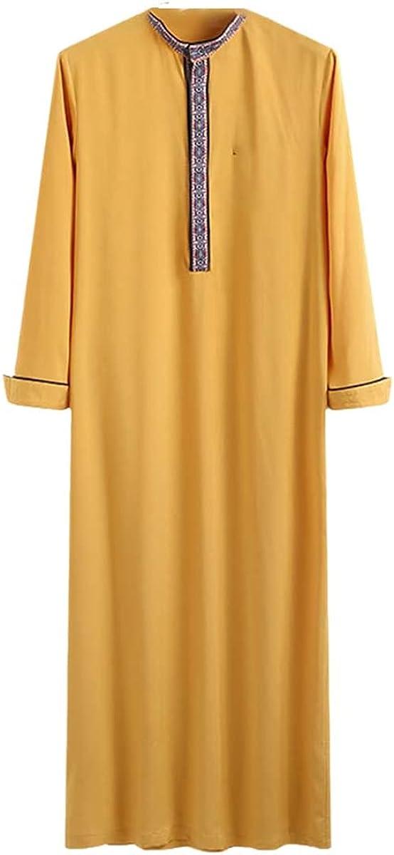 Muslim Men Jubba Thobe Islamic Arab Kaftan Long Sleeve Patchwork Robe Retro Dubai Saudi Arabia Kaftan