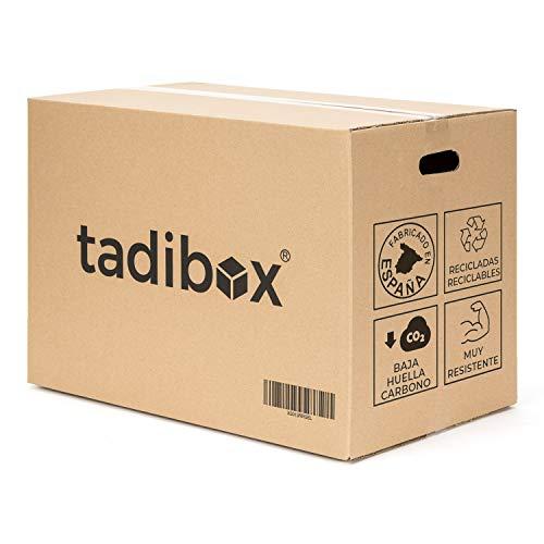 Tadibox L - 7 Cajas de cartón para mudanza y almacenaje con asas - Fabricadas en España - 47x35x39cm - Resistente con canal doble - Eco box