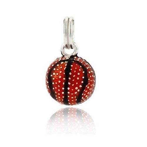 Luxuriöser Basketball Sport Charm / Anhänger mit oranger und schwarzer Emaille, Sterling Silber