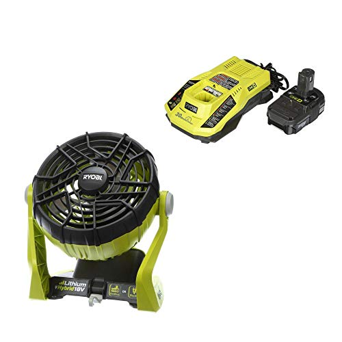 Ryobi 18-Volt ONE+ Hybrid Portable Fan with Lithium-Ion Battery and Charger (Renewed)