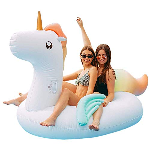 Flamingueo Flotador Gigante Unicornio - Colchoneta Piscina Unicornio, Colchoneta Hinchable Unicornio, Flotador Gigante, Flotador Adulto, Colchoneta Piscina, Hinchables para Piscina, 120x120 cm