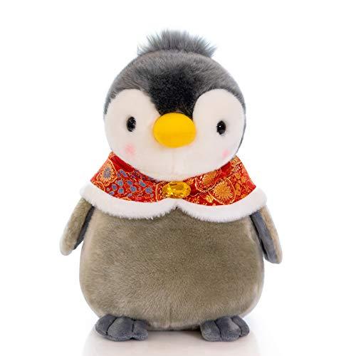 blue whale 0009 Peluche poupée Pingouin, Petite poupée Pingouin, Cadeau de Noël pour Enfant 20 cm Manteau Rouge