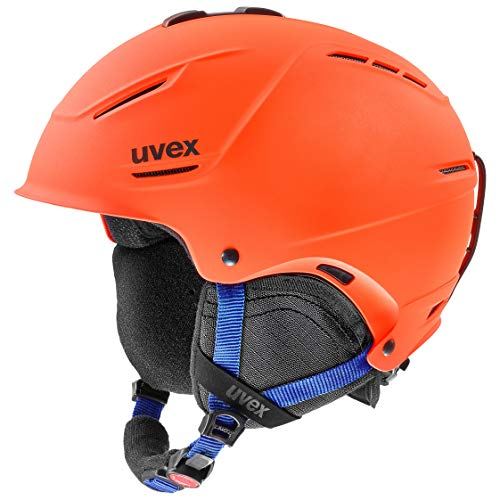 uvex Unisex – Erwachsene, p1us 2.0 Skihelm, orange-blue mat, 59-62 cm