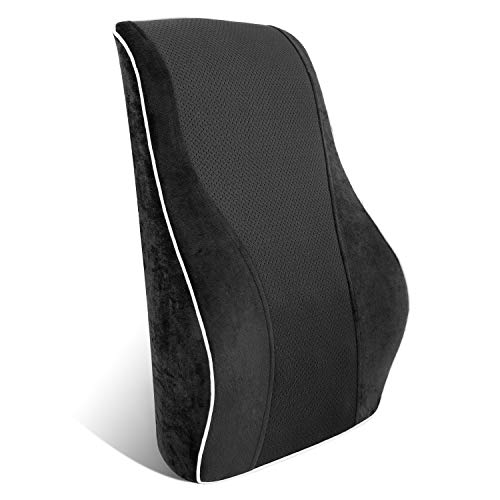 Homfy - Cojín lumbar ergonómico de espuma con memoria de forma para el hogar, el coche y la oficina, color negro