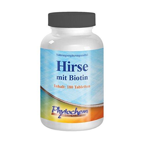 HIRSE BIOTIN | für gesund Haut, Haare und Nägel | 180 Tabletten | Premium Qualität aus Deutschland
