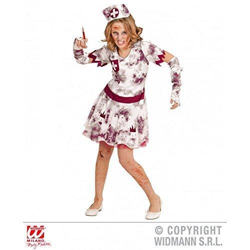 Lively Moments kostuum zombie verpleegster voor kinderen / jurk met handschoenen en kap / kinderkostuum Halloween maat 140 (8-10 jaar).