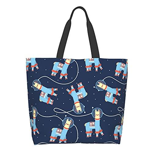 Damen Schultertaschen Multifunktionale Tote Satchel Handtaschen Arbeit/Reisen/Einkaufstasche, Weiß - Space Lama Astronaut Alpaka Muster schwarz - Größe: Einheitsgröße
