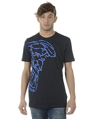 Versace Collection Men's Cotton Medusa Logo Graphic Crewneck T-Shirt Navy Blue
