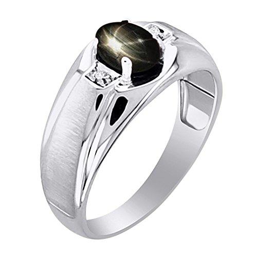 Negro Estrella y anillo de diamante en 14K amarillo o 14K oro blanco