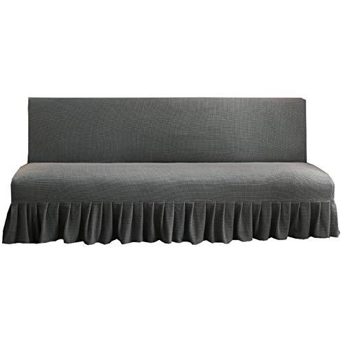 CENPENYA Sofabezug ohne Armlehnen mit Rock, Couchschoner, passend für faltbares Sofa oder Bett ohne Armlehnen (Nahöstliches Grau,150-170cm)