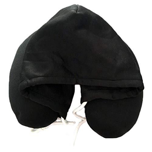 Almohada De Viaje Almohada con capucha Avión de viaje Cuello Cuello Cuello Almohada Cervical Vértebra Sombrero Cuello en forma de U Almohada Equipo De Oficina ( Color : Black , tamaño : 28*30cm )