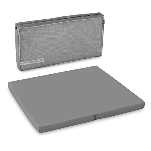 Hauck Sleeper SQ Reisebett-/Laufstall Matratze, 90 x 90 cm, 6 cm hoch, 2 teilig zusammenklappbar, inklusive Transporttasche - grau